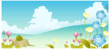 This illustration is a common natural landscape. Landscape with flowers and sky  Stock Vector - 15881399