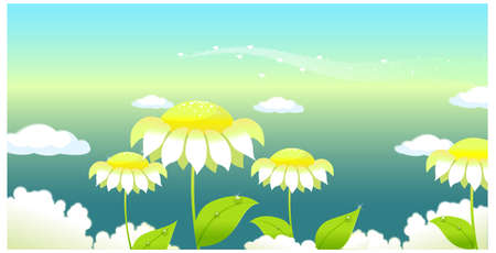 This illustration is a common natural landscape. Sunflower under a clouded sky  Stock Vector - 15881367