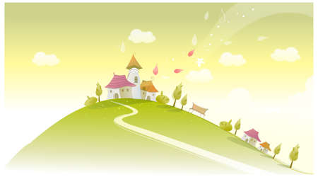 curved path: This illustration is a common natural landscape. Houses on green landscape