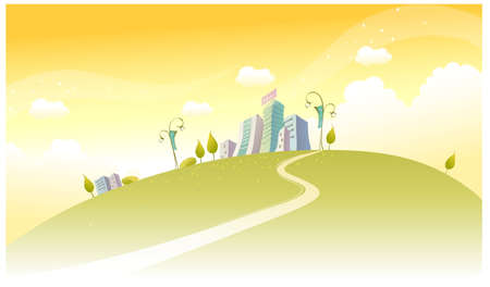This illustration is a common natural landscape. Path towards city Vector