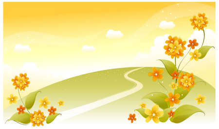 This illustration is a common natural landscape. Green landscape with flowers and sky Stock Vector - 15881712