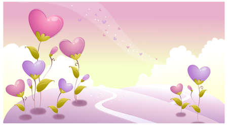 This illustration depicts a young child's dream world. Landscape with heart shape plants Stock Vector - 15881533