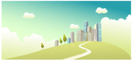 This illustration is a common cityscape. Path towards city Stock Vector - 15881186
