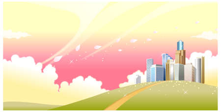 curved path: This illustration is a common natural landscape. Green landscape and skyline