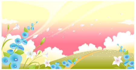 This illustration is a common natural landscape. Green landscape with flowers and sky Stock Vector - 15900792