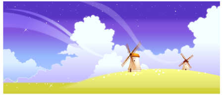This illustration is a common natural landscape. Landscape with windmills Stock Vector - 15881756
