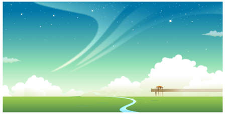 This illustration is a common natural landscape. Green landscape with jetty Stock Vector - 15900780