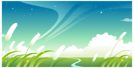 This illustration is a common natural landscape. Green landscape with blue sky Vector