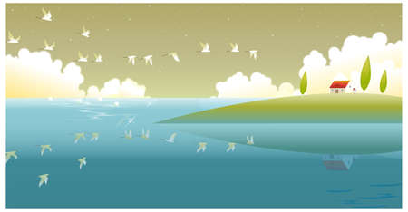 This illustration is a common natural landscape. Countryside scene Stock Vector - 15881762