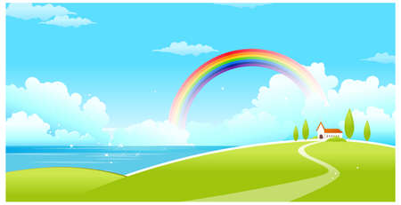 curved path: This illustration is a common natural landscape. Sea landscape with a rainbow in the background