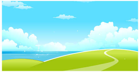 curved path: This illustration is a common natural landscape. Green landscape with sea and blue sky Illustration