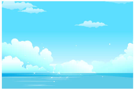 no cloud: This illustration is a common natural landscape. Close-up of sea and clouded sky Illustration
