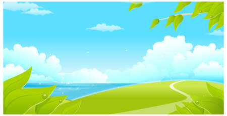 This illustration is a common natural landscape. Green landscape with sea and blue sky Vector