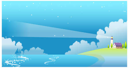 This illustration is a common natural landscape. Residential house and a lighthouse with sea Stock Vector - 15881652