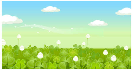 This illustration is a common natural landscape. Field with clouded sky  Stock Vector - 15901324