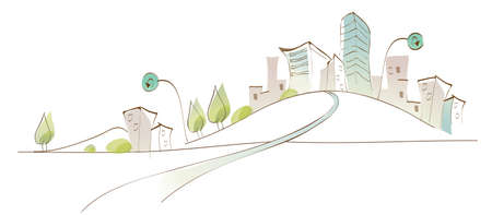 curved path: This illustration is a common natural landscape. Curved path towards city Illustration