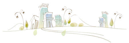curved path: This illustration is a common cityscape. Cityscape Illustration