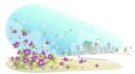 This illustration is a common cityscape. Close-up of flowers near city Stock Vector - 15900769