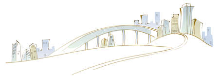 curved path: This illustration is a common cityscape. City skyline Illustration