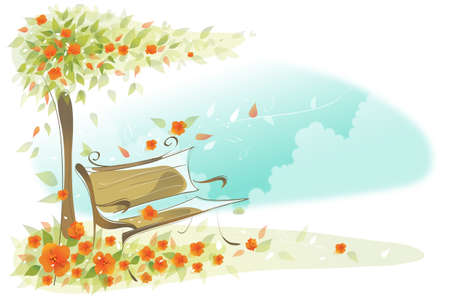 This illustration is a common cityscape. Bench under a tree Vector
