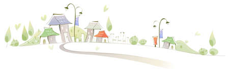 curved path: This illustration is a common cityscape. Curved path towards buildings