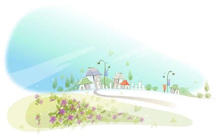 This illustration is a common cityscape. Curved path towards city Stock Vector - 15887402