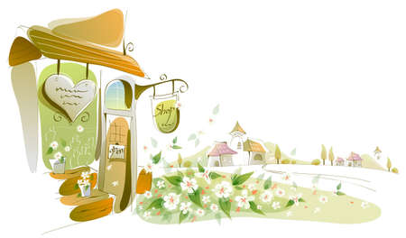 curved path: This illustration is a common cityscape. Close-up of a store  Illustration