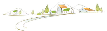 curved path: This illustration is a common cityscape. Rural  houses on landscape Illustration