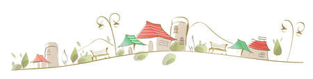 ce: Cette illustration est un paysage urbain commun. Maisons sur le paysage Illustration