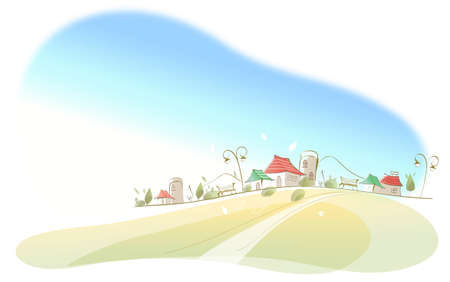 curved path: This illustration is a common cityscape. Houses on landscape Illustration