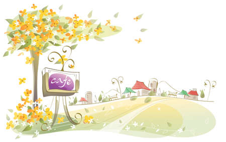 This illustration is a common cityscape. Close-up of a cafe signboard under a tree