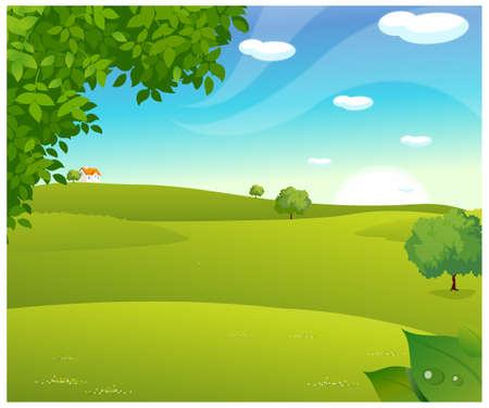 This illustration is a common natural landscape. Sunrise over a green landscape Vector