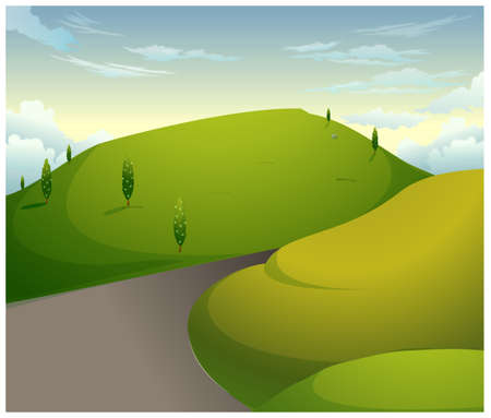 This illustration is a common natural landscape. Green mountains with blue sky Stock Vector - 15881754