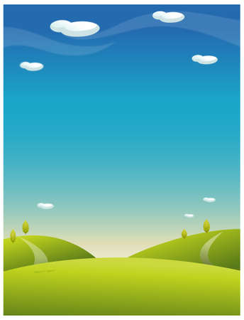 rolling landscape: This illustration is a common natural landscape. Rolling landscape with blue sky