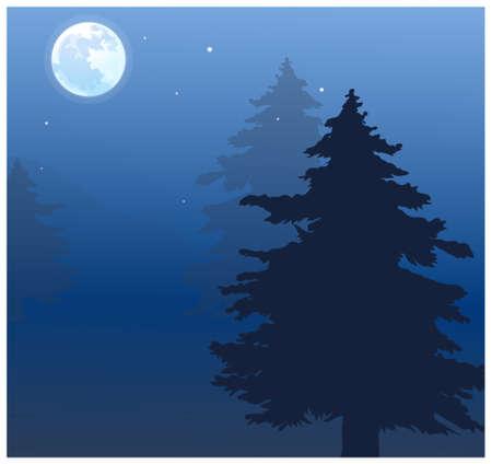 tranquility: Esta ilustraci�n es un paisaje natural com�n. Luna sobre la copa de los �rboles Vectores