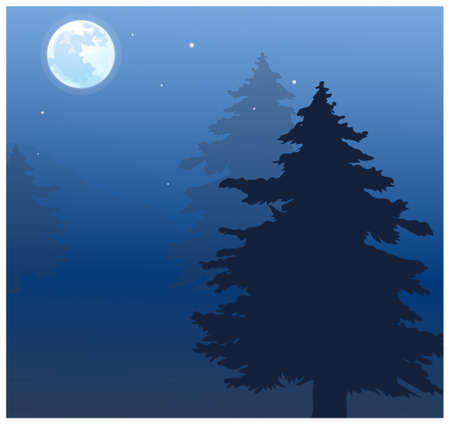 full day: This illustration is a common natural landscape. Moon over treetops