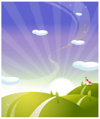 This illustration is a common natural landscape. Church on rolling landscape with sunrise Stock Vector - 15901167