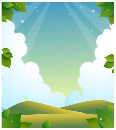 This illustration is a common natural landscape. Green landscape with clouded sky Stock Vector - 15901152