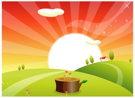 rolling landscape: This illustration is a common natural landscape. Sunrise over a rolling landscape