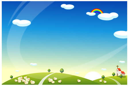 rolling landscape: This illustration is a common natural landscape. Sheep Grazing on Rolling landscape and church