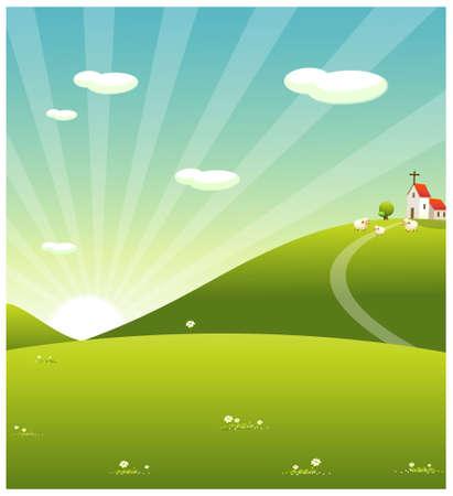daybreak: Esta ilustraci�n es un paisaje natural com�n. Ovejas pastando en paisaje del balanceo y de la iglesia Vectores