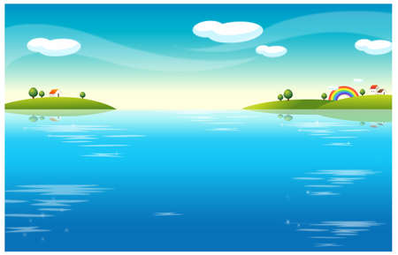This illustration is a common natural landscape. Water Landscape and houses Stock Vector - 15881675