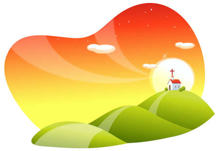 This illustration is a common natural landscape. Rolling landscape and church Stock Vector - 15881447