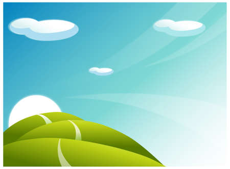 rolling landscape: This illustration is a common natural landscape. Rolling landscape and Path