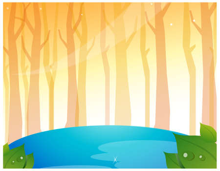This illustration is a common natural landscape. Tree Woods and Pond Stock Vector - 15881436