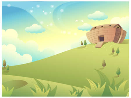 This illustration is a common natural landscape. House on Green Mountain Stock Vector - 15901151