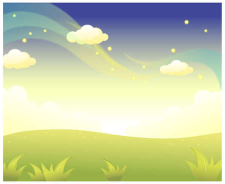 This illustration is a common natural landscape. Green Landscape and Sky Stock Vector - 15887412