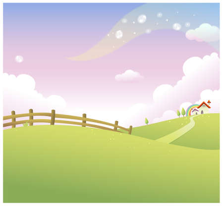 no cloud: This illustration is a common natural landscape. Rolling landscape and house