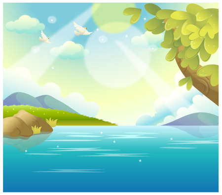 This illustration is a common natural landscape. Water Landscape  Stock Vector - 15901426