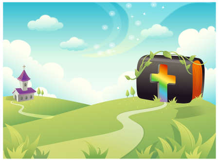 rolling landscape: This illustration is a common natural landscape. Bible on rolling landscape with church and Cross